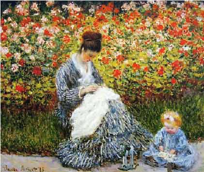 Camille Monet and a child in the garden